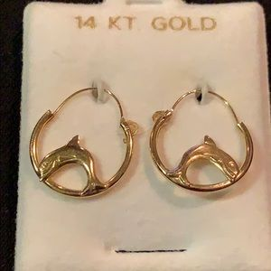 14k Gold Dolphin Hoop Earrings 🐬